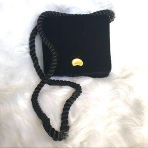 Talbots black velvet crossbody braided strap